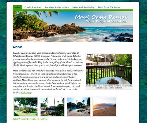Maui Oasis Rental home page